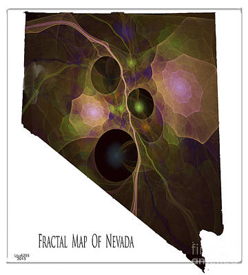 Digital Art - Fractal Map Of Nevada by Melissa Messick