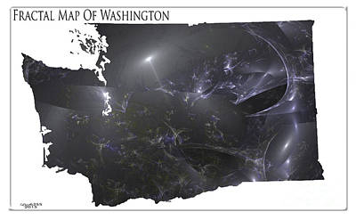 Digital Art - Fractal Map Of Washington State by Melissa Messick