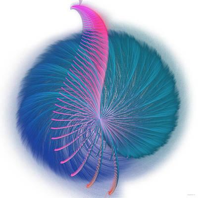 Fractals Mixed Media - Fractal Peacock by Ganesh Barad