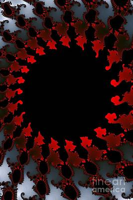 Digital Art - Fractal Red Black White by Henrik Lehnerer