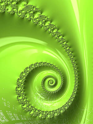 Digital Art - Fractal Spiral Greenery Color by Matthias Hauser