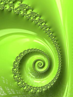 Colors Of Spring Digital Art - Fractal Spiral Greenery Color by Matthias Hauser