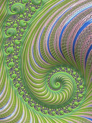 Fractal Digital Art - Fractal Spiral Greenery Rose Quartz And Serenity by Matthias Hauser