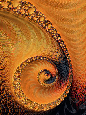 Fractal Spiral Orange And Brown Art Print