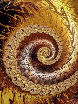 Photograph - Fractal Spiral Warm Golden Tones Vertical by Matthias Hauser