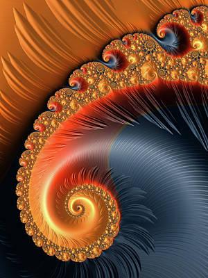 Digital Art - Fractal Spiral With Warm Orange And Red Tones by Matthias Hauser