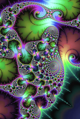 Digital Art - Fractal Spirals And Leaves With Jewel Colors by Matthias Hauser