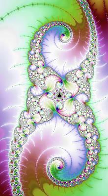Digital Art - Fractal Spirals Purple And Green Tones by Matthias Hauser