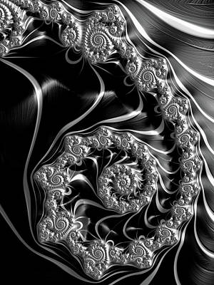 Steampunk Royalty-Free and Rights-Managed Images - Fractal steampunk spiral black and white by Matthias Hauser