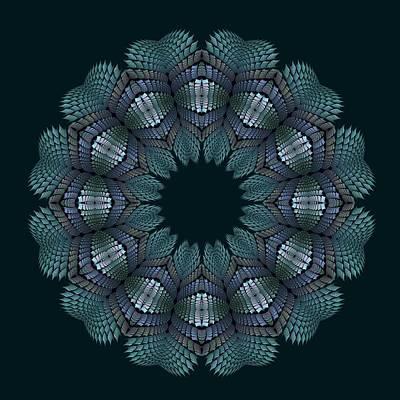 Digital Art - Fractal Wreath-32 Teal T-shirt by Doug Morgan
