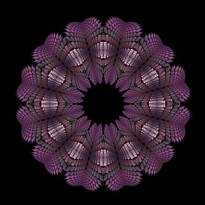 Digital Art - Fractal Wreath-32 Violet T-shirt by Doug Morgan