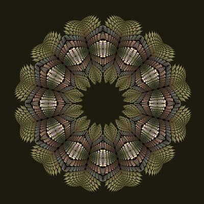 Digital Art - Fractal Wreath-32 Earth T-shirt by Doug Morgan