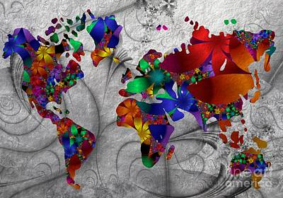Fractals And Flowers Everywhere Art Print by Issabild -
