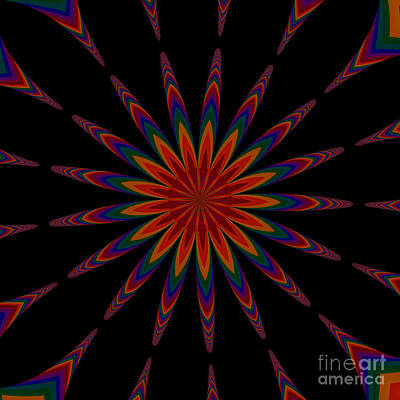 Digital Art - Fractalscope Flower 12 In Orange Blue Purple And Black by Rose Santuci-Sofranko