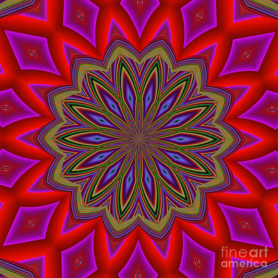 Digital Art - Fractalscope Flower 4 In Red Pink Blue And Yellow by Rose Santuci-Sofranko