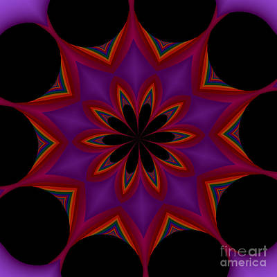 Digital Art - Fractalscope Flower 6 In Purple Violet Orange And Black by Rose Santuci-Sofranko