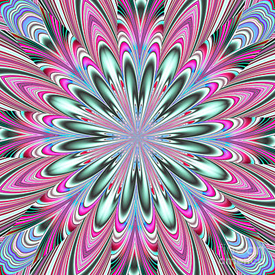 Digital Art - Fractalscope Flower In Pink Blue Green And White by Rose Santuci-Sofranko