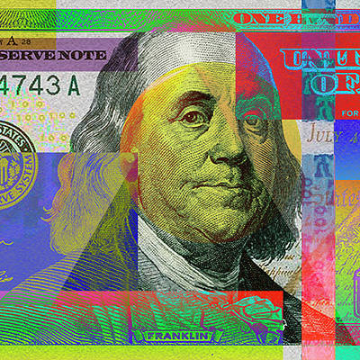 Digital Art - Fragment Of Colorized One Hundred U. S. Dollar Bill - $100 U S D Pop Art by Serge Averbukh