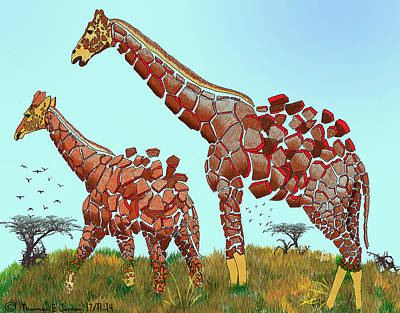 Painting - Fragmented Giraffes  by ThomasE Jensen
