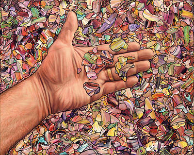 Fragmented Touch Art Print by James W Johnson