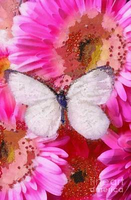 Painting - Fragmented White Butterfly And Pink Fluers by Catherine Lott