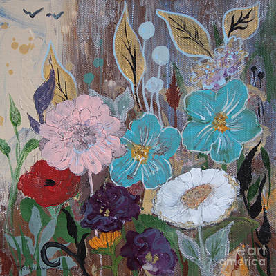 Painting - Fragrant Flowers And Golden Leaves  by Robin Maria Pedrero