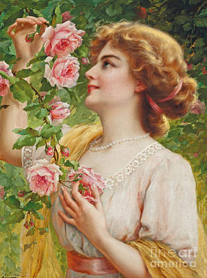 Sniffing Painting - Fragrant Roses by Emile Vernon