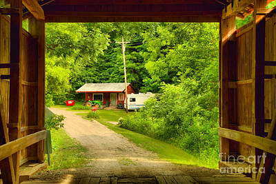 Photograph - Framed By The Wilkins Mill Covered Bridge by Adam Jewell