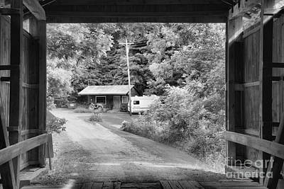 Photograph - Framed By The Wilkins Mill Covered Bridge Black And White by Adam Jewell