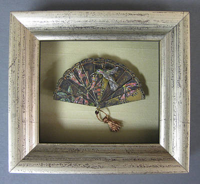 Sculpture - Framed Hummingbird And Honeysuckle Framed Miniature by Brenda Berdnik
