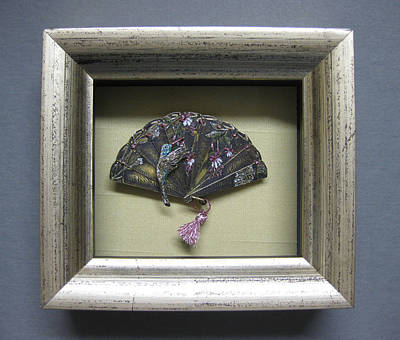 Relief - Framed Hummingbird With Fushia by Brenda Berdnik