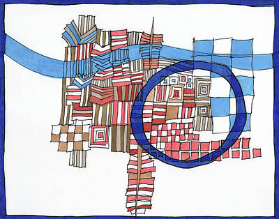 Abstract Shapes Drawing - Framed In Blue by Sandra Church