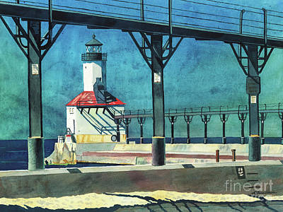 Painting - Framed Lighthouse by LeAnne Sowa