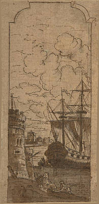 Drawing - Framed Port Scene With Two Figures by Dominique Barriere