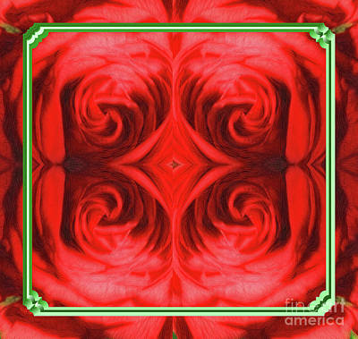 Digital Art - Framed Red  Rose Abstract by Linda Phelps