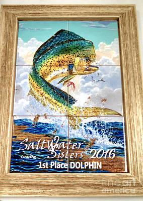 Dolphin Digital Art - Framed Tile Trophies by Carey Chen