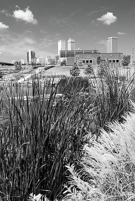 Photograph - Framing The Tulsa Oklahoma Skyline - Black And White by Gregory Ballos