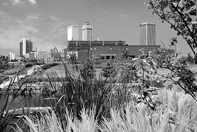 Photograph - Framing The Tulsa Skyline - Black And White by Gregory Ballos