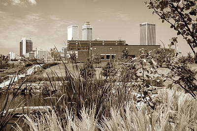 Photograph - Framing The Tulsa Skyline - Sepia by Gregory Ballos