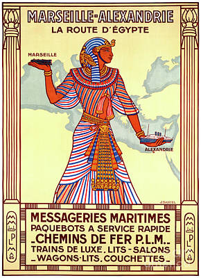 Mixed Media - France Egypt Restored Vintage Travel Poster by Carsten Reisinger