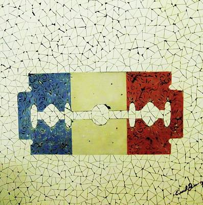 Flag Painting - France by Emil Bodourov