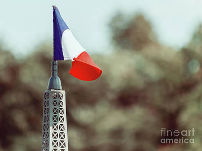 France Flag Close Up On Sunny Day Art Print