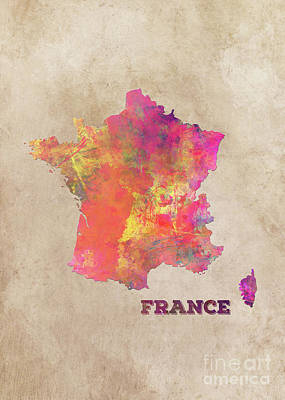Map Of France Digital Art - France Map by Justyna JBJart