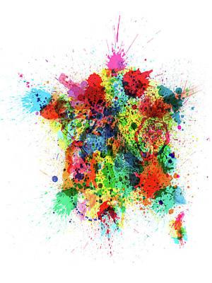 Digital Art - France Map Paint Splashes by Michael Tompsett