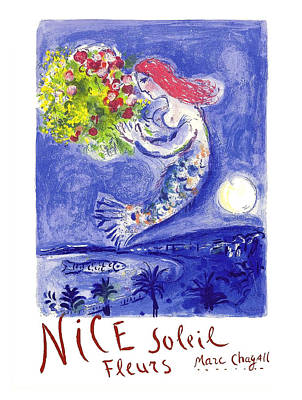 St.tropez Digital Art - France Nice Soleil Fleurs Vintage 1961 Travel Poster By Marc Chagall by Retro Graphics