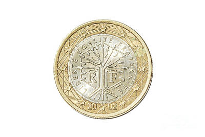 Photograph - France One Euro Coin by Benny Marty