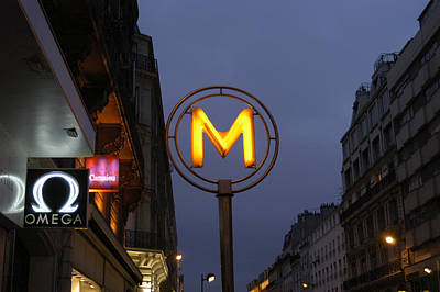 Letter M Photograph - France, Paris Metro Sign In Downtown by Keenpress