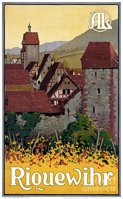 Mixed Media - France Riquewihr Vintage Travel Poster Restored by Carsten Reisinger