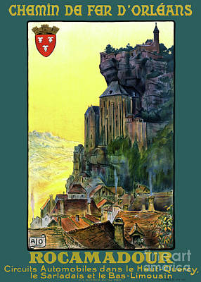 Mixed Media - France Rocamadour Vintage Travel Poster Restored by Carsten Reisinger