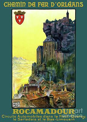 Mixed Media - France Rocamadour Vintage Travel Poster Restored by Carsten Reisinger